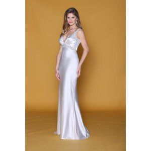 Charmeuse Slinky Satin BACKLESS Bridal Gown Plunge
